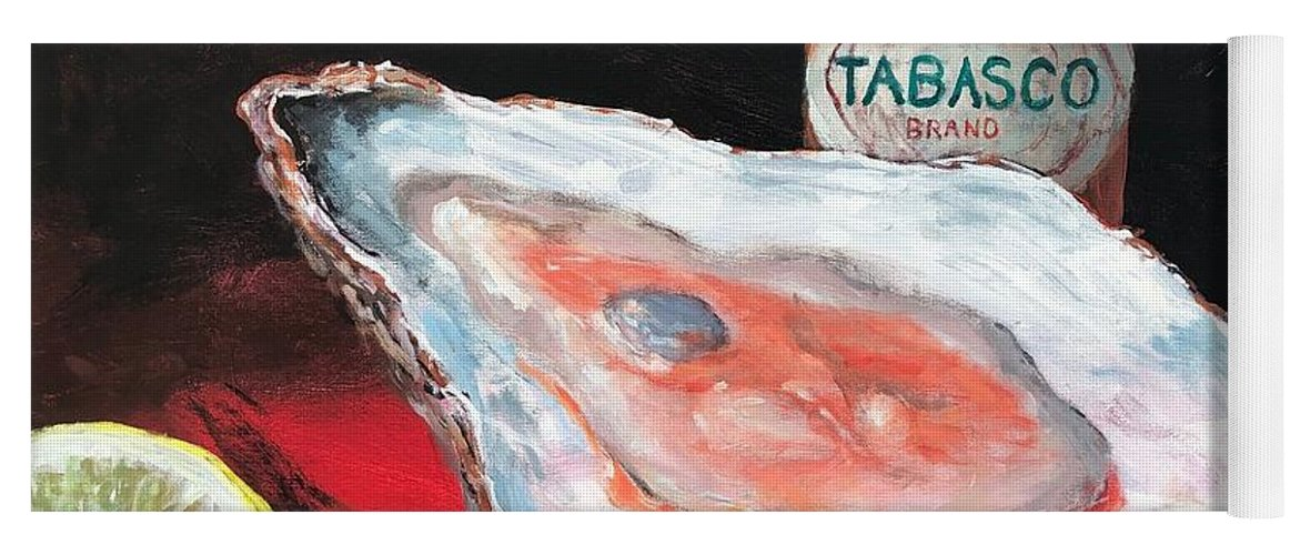 Oyster Yoga Mat featuring the painting Half Shell by Paul Emig