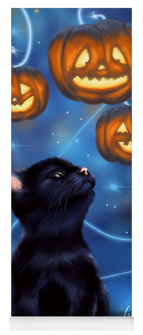 Halloween Yoga Mat featuring the painting Halloween Night by Veronica Minozzi