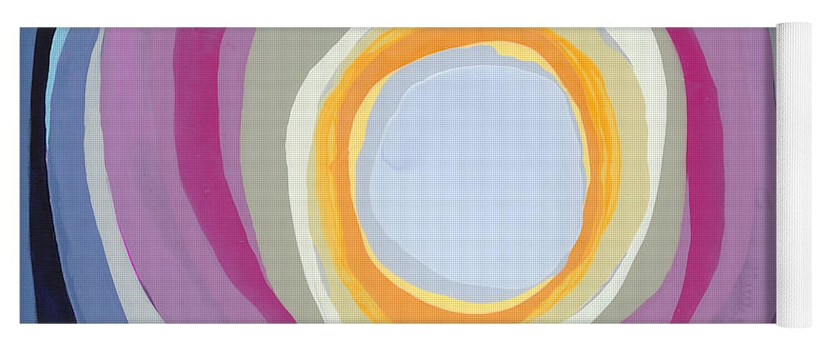 Abstract Yoga Mat featuring the painting Hang Cool by Claire Desjardins