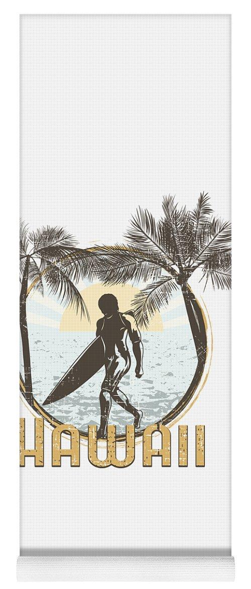 Beach Yoga Mat featuring the digital art Hawaii Surfer On Beach by Passion Loft