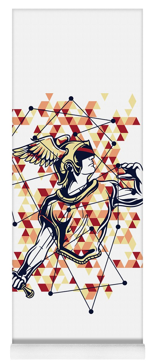 Greek-mythology Yoga Mat featuring the digital art Hermes Greek God by Passion Loft