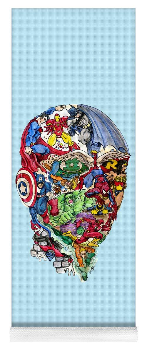 Superhero Yoga Mat featuring the drawing Heroic Mind by John Ashton Golden