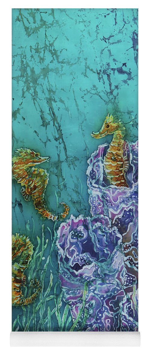 Seahorses Yoga Mat featuring the tapestry - textile Horsin Around by Sue Duda