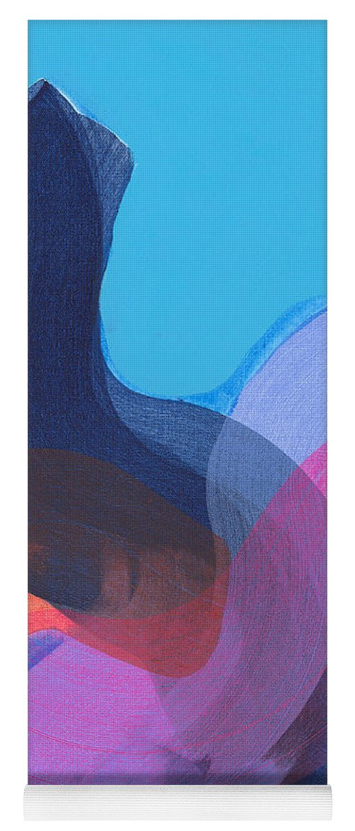 Abstract Yoga Mat featuring the painting How Did It Get To Be So Late? by Claire Desjardins