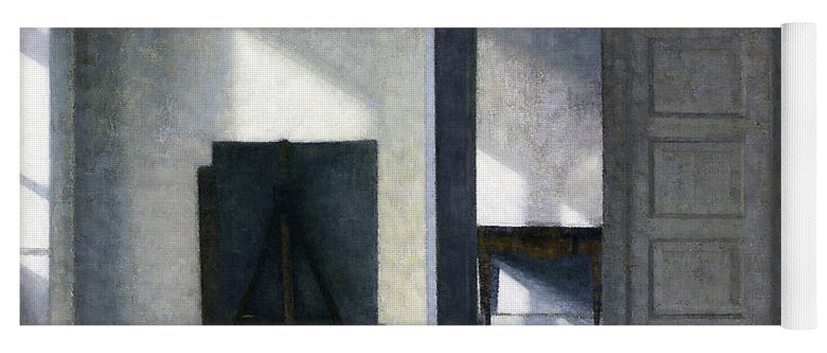 Vilhelm Hammershoi Yoga Mat featuring the painting Interior With The Artists Easel - Digital Remastered Edition by Vilhelm Hammershoi