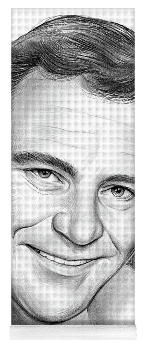 Jack Lemmon Yoga Mat featuring the drawing Jack Lemmon by Greg Joens