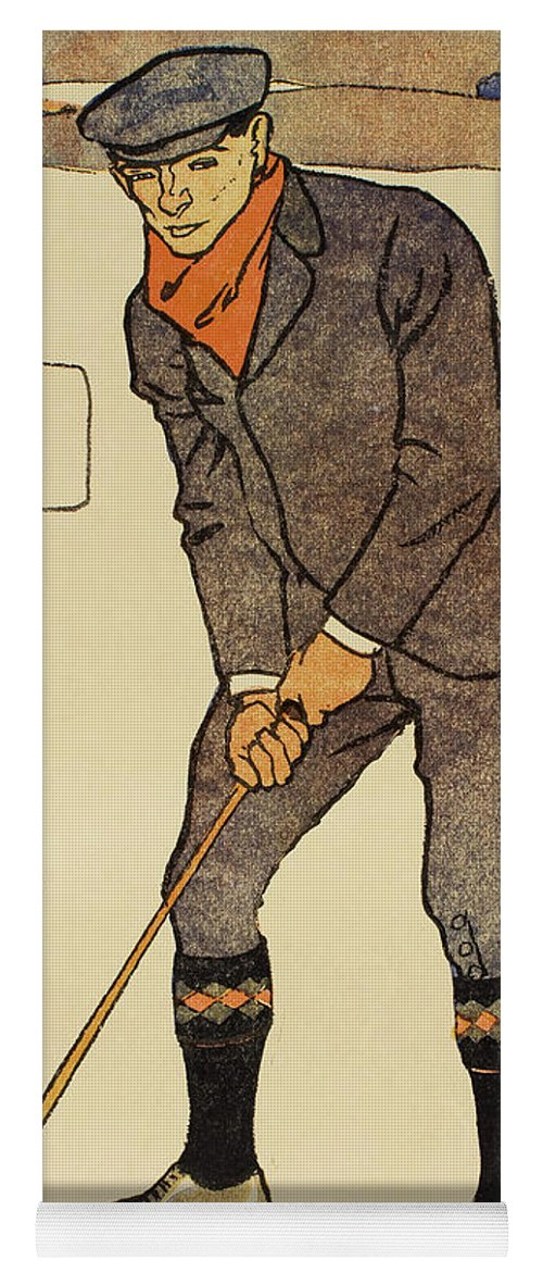 Golf Yoga Mat featuring the painting January, Detail From 1931 Golfing Calendar by Edward Penfield