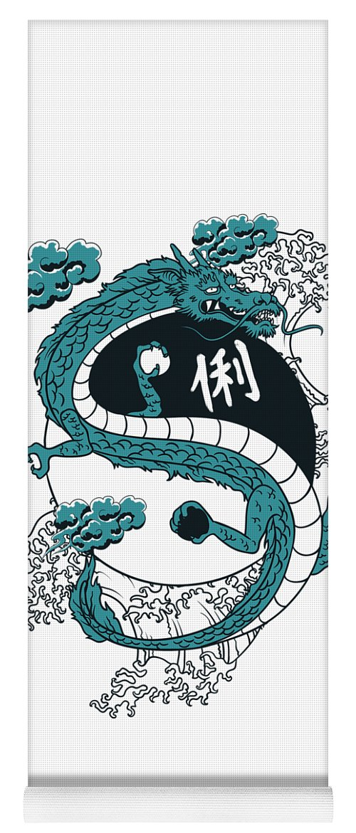 Asian Yoga Mat featuring the digital art Japanese Dragon Yinyang Water Waves by Passion Loft