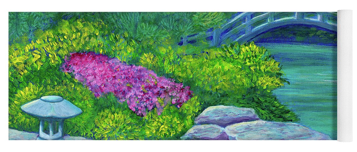 Japan Yoga Mat featuring the painting Japanese Garden by Laura Zoellner