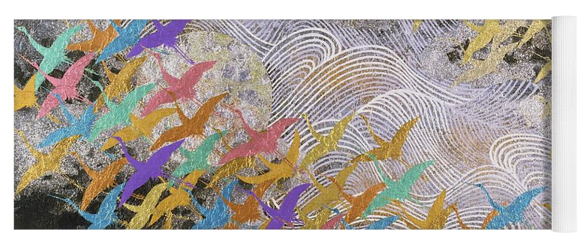 Cranes Yoga Mat featuring the mixed media Japanese Modern Interior Art #129 by ArtMarketJapan