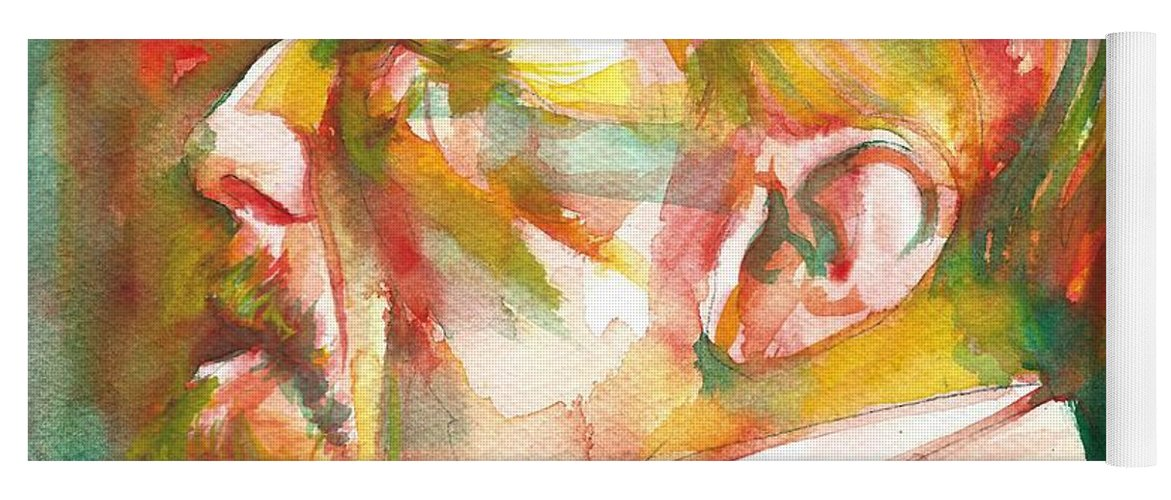 Conrad Yoga Mat featuring the painting Joseph Conrad - Watercolor Portrait.3 by Fabrizio Cassetta