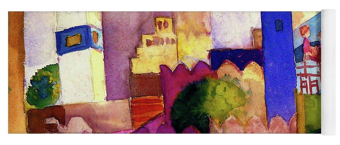 Kairouan Yoga Mat featuring the painting Kairouan IIi - Digital Remastered Edition by August Macke