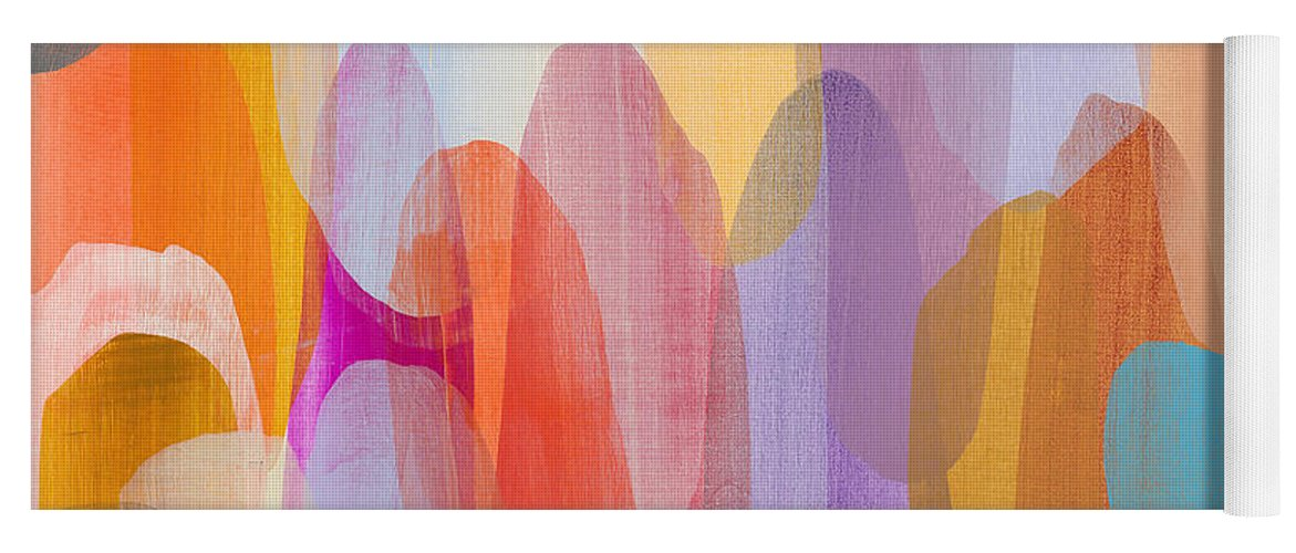 Abstract Yoga Mat featuring the painting Kinship by Claire Desjardins