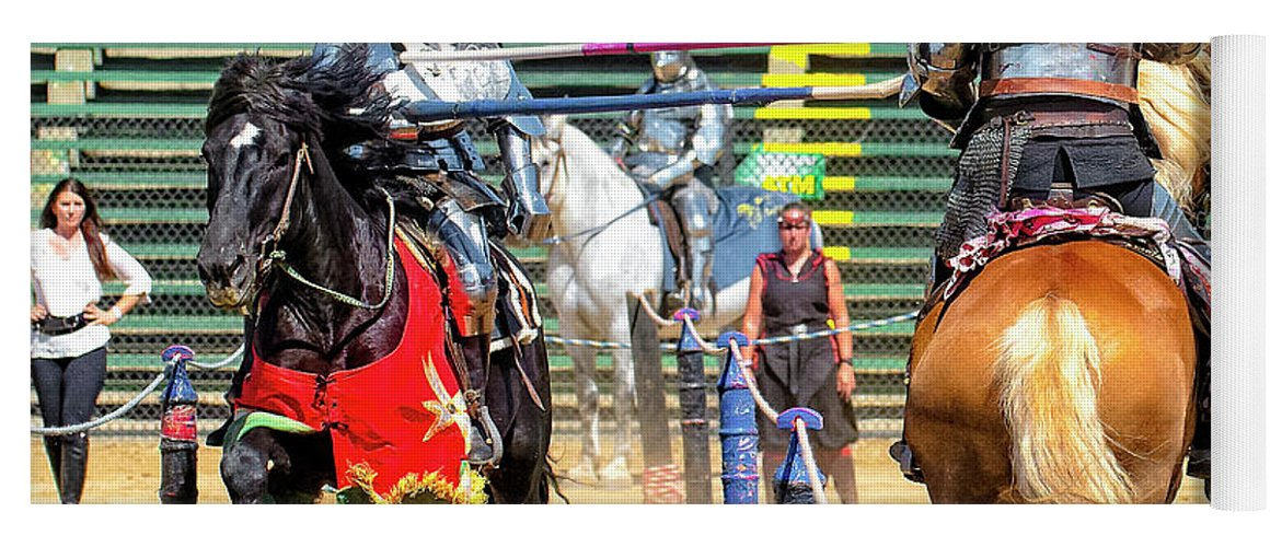 Equine Yoga Mat featuring the photograph Knights Of Mayhem 08 by Jim Thompson