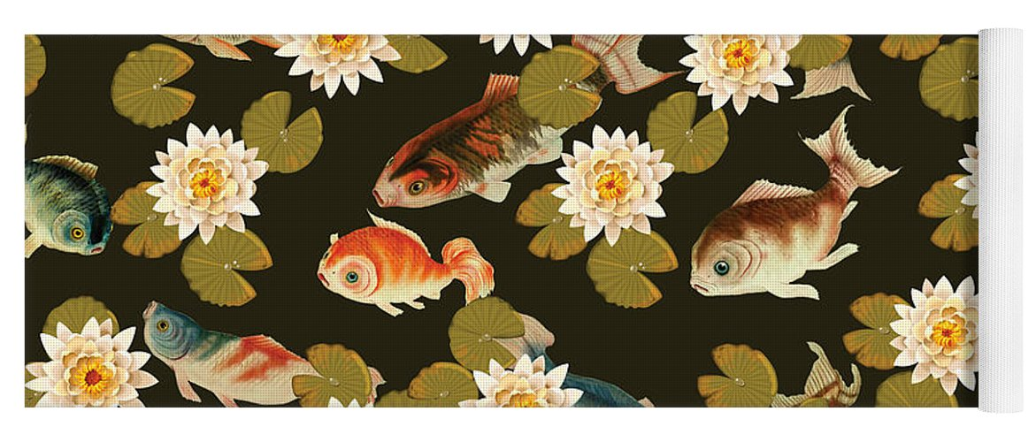 Koi Yoga Mat featuring the digital art Koi and Lily Pads in Dark Water by Catherine Edwards