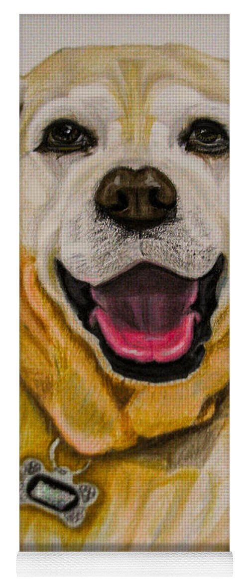 Labrador Yoga Mat featuring the drawing Labrador Retriever Drawing by Zina Stromberg