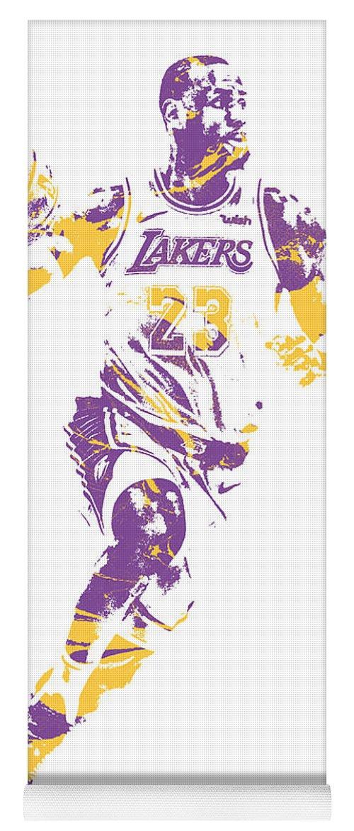 Lebron James Yoga Mat featuring the mixed media Lebron James Los Angeles Lakers Pixel Art 2 by Joe Hamilton