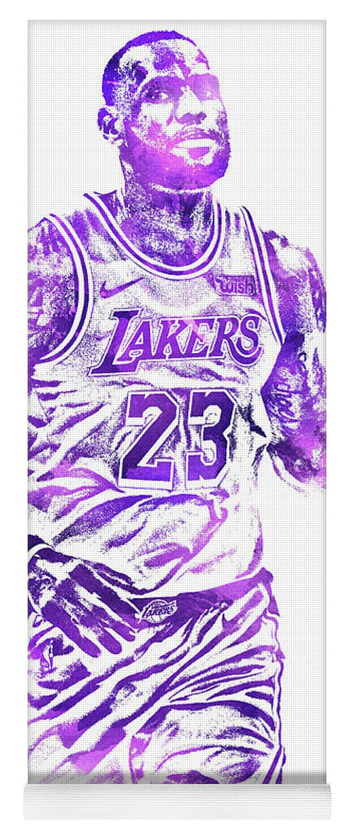 6176feb20f0 Lebron James Yoga Mat featuring the mixed media Lebron James Los Angeles  Lakers Water Color Pixel