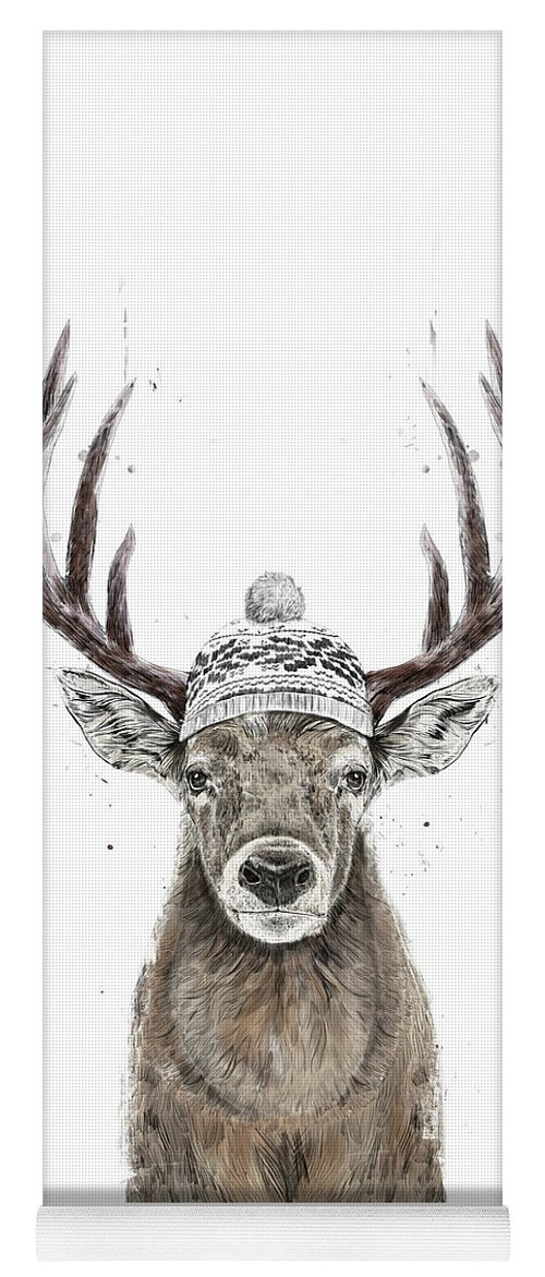 Deer Yoga Mat featuring the mixed media Let's Go Outside by Balazs Solti