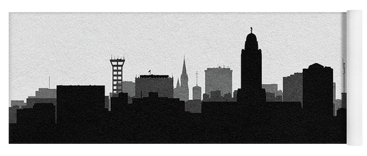 Lincoln Yoga Mat featuring the digital art Lincoln Cityscape Art by Inspirowl Design