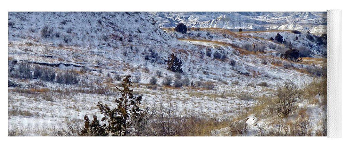 North Dakota Yoga Mat featuring the photograph Little Missouri Winter Prairie by Cris Fulton