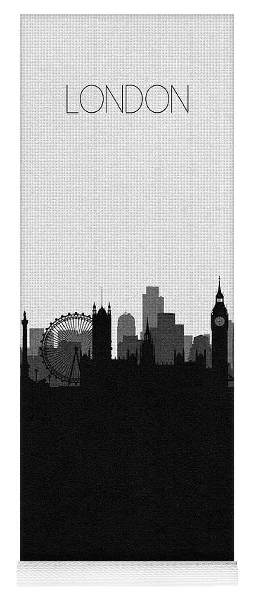 London Yoga Mat featuring the digital art London Cityscape Art by Inspirowl Design