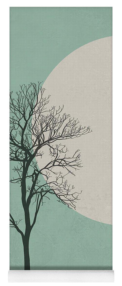 Botanical Yoga Mat featuring the digital art Lonely Tree by Naxart Studio