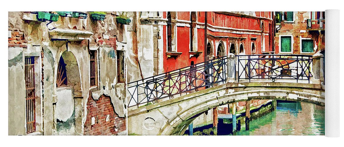 Venice Yoga Mat featuring the painting Lost In Venice by Delphimages Photo Creations