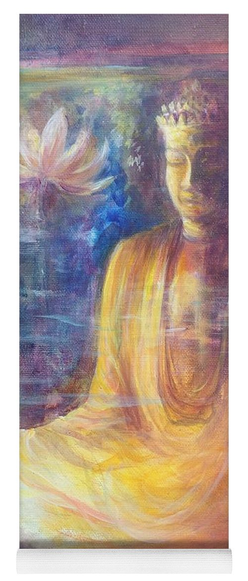 Dorje Sempa Yoga Mat featuring the painting Lotus flower before a Diamond mind Dorje sempa by Lizzy Forrester
