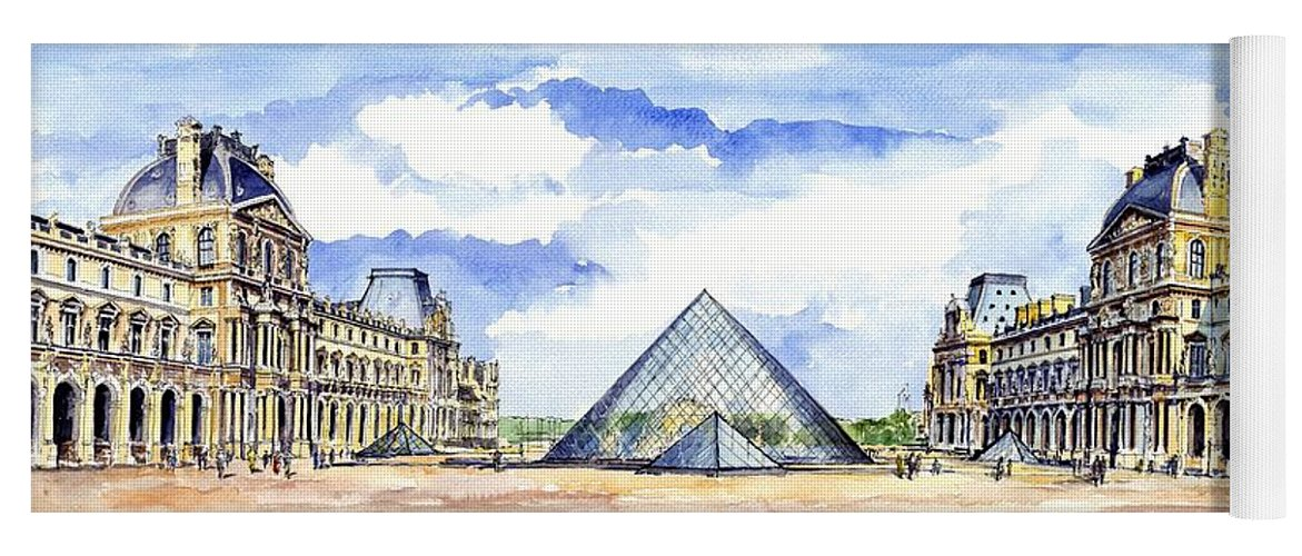 Louvre Museum Yoga Mat featuring the painting Louvre Museum by ArtMarketJapan
