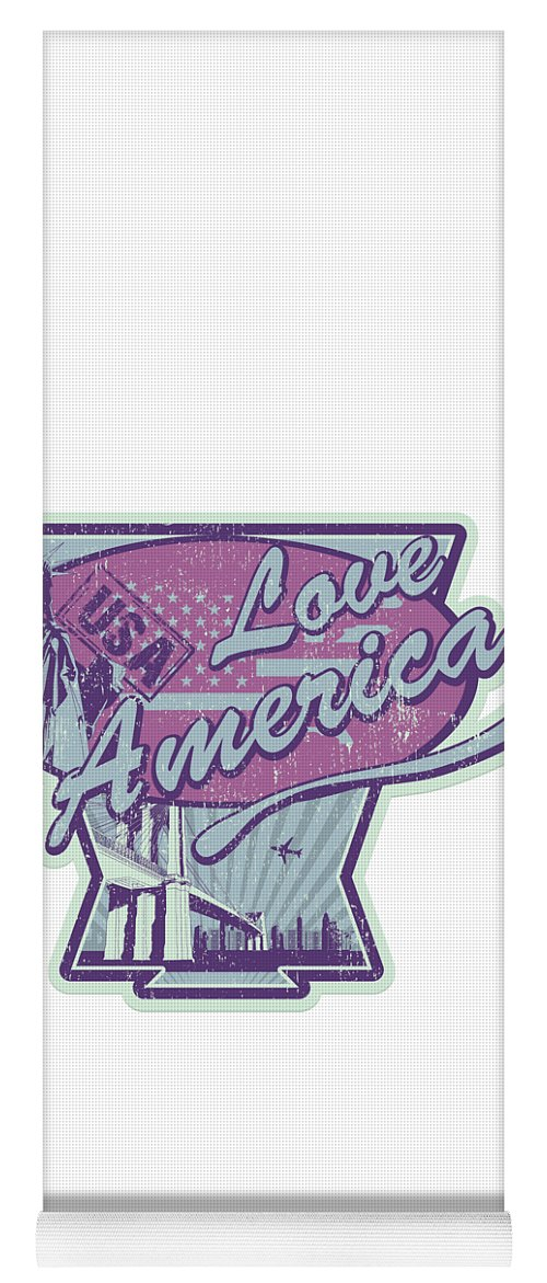 Veterans-day Yoga Mat featuring the digital art Love American Usa Statue Of Liberty by Passion Loft