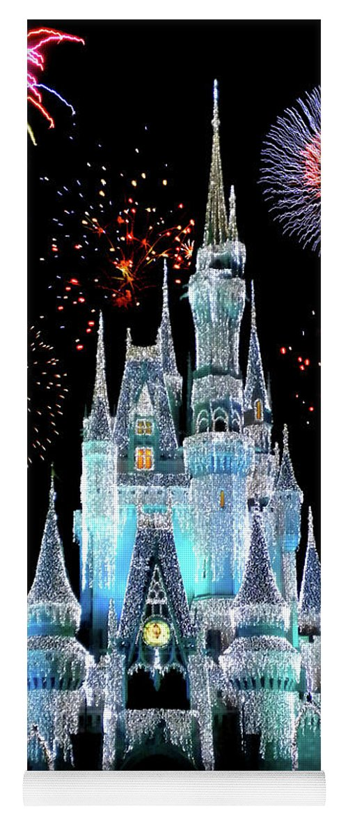Castle Yoga Mat featuring the photograph Magic Kingdom Castle In Frosty Light Blue With Fireworks 06 by Thomas Woolworth