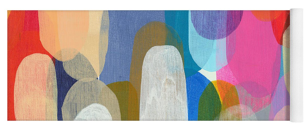 Abstract Yoga Mat featuring the painting Making Origami by Claire Desjardins