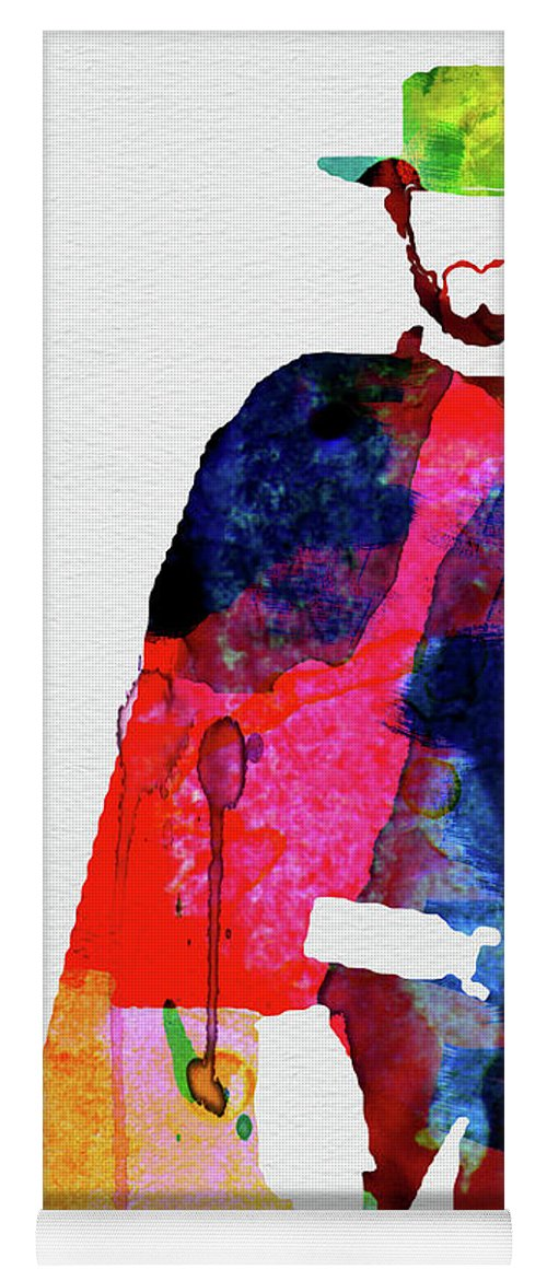 Movies Yoga Mat featuring the mixed media Man With No Name Watercolor by Naxart Studio