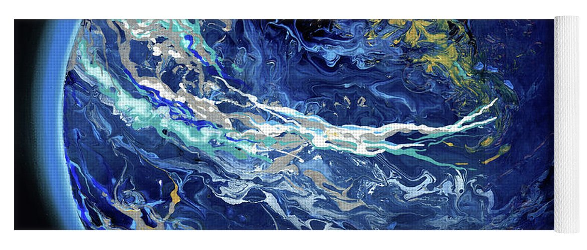 Planet Yoga Mat featuring the painting Manifesto 1.0 Blue Marble Earth 5 by Catherine Twomey