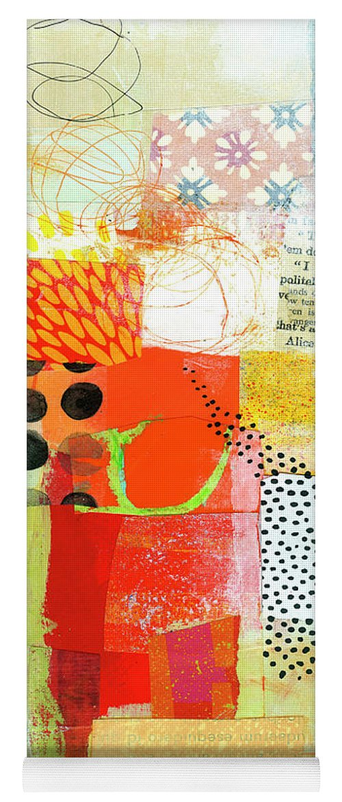 Abstract Art Yoga Mat featuring the painting Map In Ochre by Jane Davies