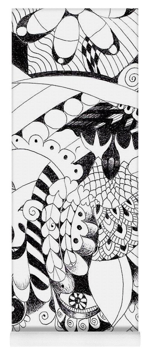 Metamorphosis 2 By Helena Tiainen Yoga Mat featuring the drawing Metamorphosis 2 by Helena Tiainen