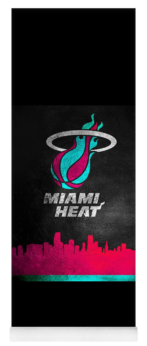 Landscape Yoga Mat featuring the digital art Miami Heat Vice Skyline by ABConcepts