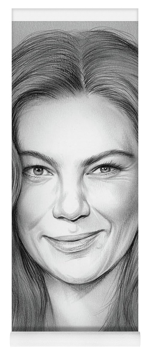 Michelle Monaghan Yoga Mat featuring the drawing Michelle Monaghan by Greg Joens