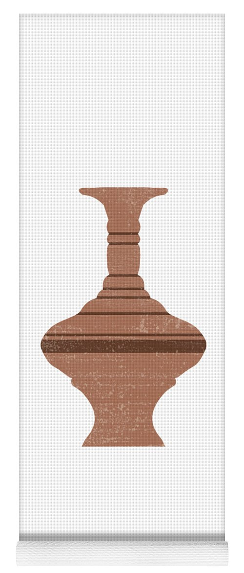 Abstract Yoga Mat featuring the mixed media Minimal Abstract Greek Vase 12 - Loutrophoros - Terracotta Series - Modern, Contemporary Print - Tan by Studio Grafiikka