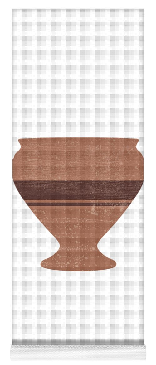 Abstract Yoga Mat featuring the mixed media Minimal Abstract Greek Vase 15 - Bell Krater - Terracotta Series - Modern, Contemporary Print by Studio Grafiikka