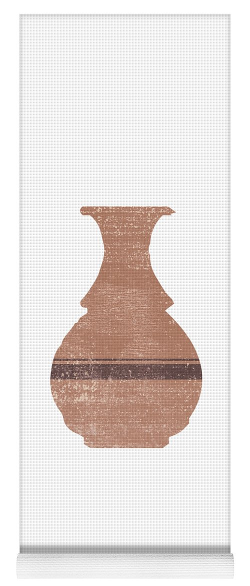 Abstract Yoga Mat featuring the mixed media Minimal Abstract Greek Vase 17 - Hydria - Terracotta Series - Modern, Contemporary Print - Tan by Studio Grafiikka