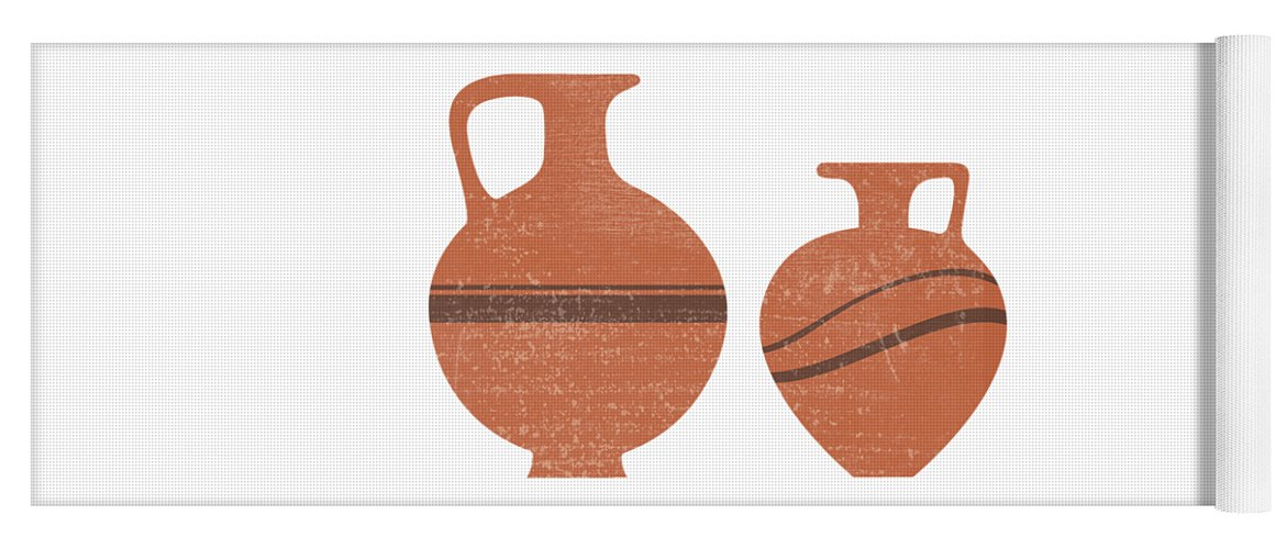 Abstract Yoga Mat featuring the mixed media Minimal Abstract Greek Vase 20 - Oinochoe - Terracotta Series - Modern, Contemporary Print - Sienna by Studio Grafiikka