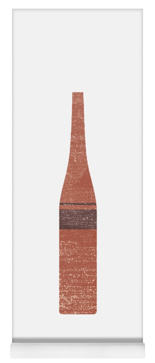 Abstract Yoga Mat featuring the mixed media Minimal Abstract Vase 9 - Tall Vase - Terracotta Series - Modern, Contemporary Print - Brown by Studio Grafiikka