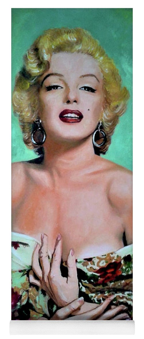 Woman Yoga Mat featuring the painting M.Monroe 4 by Jose Manuel Abraham