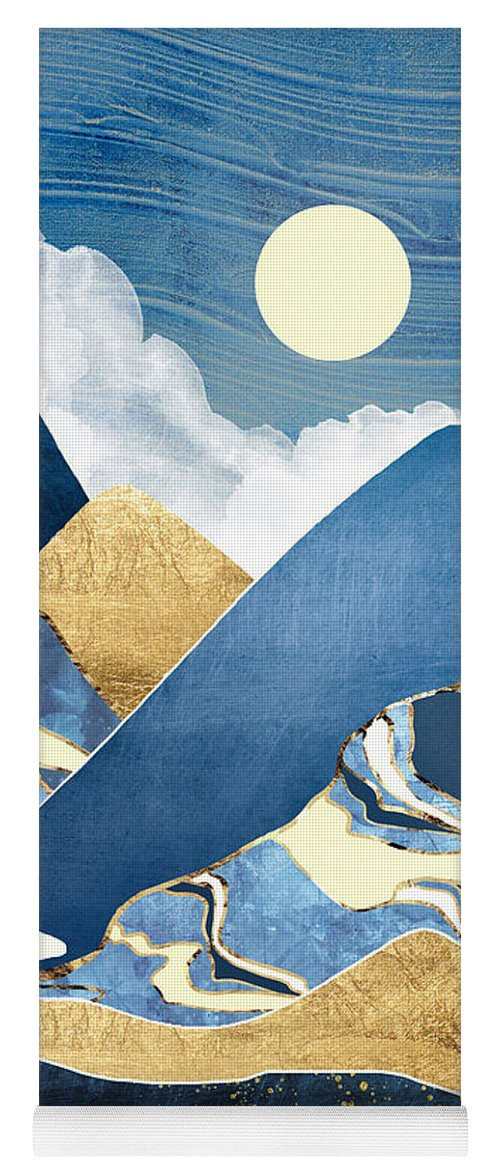 River Yoga Mat featuring the digital art Moon River by Spacefrog Designs