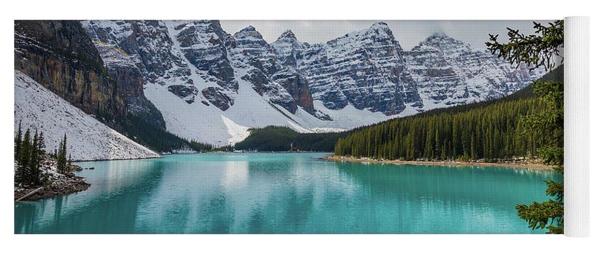 Alberta Yoga Mat featuring the photograph Moraine Lake Range by Inge Johnsson