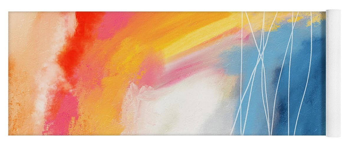 Abstract Yoga Mat featuring the mixed media Morning 2- Art by Linda Woods by Linda Woods