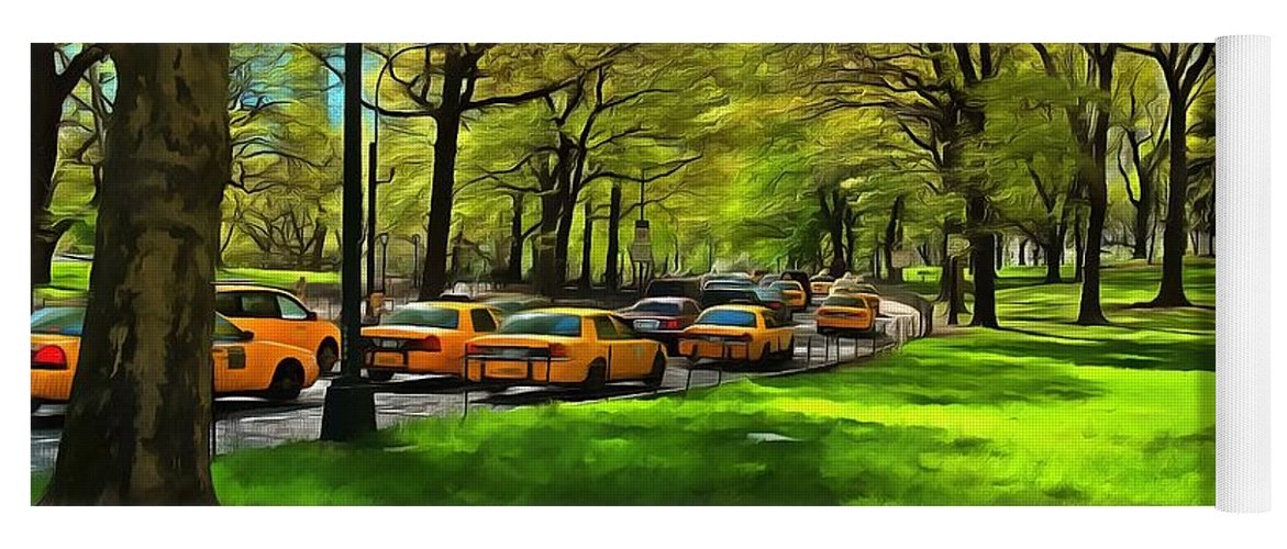 New York; Ny; N.y.; Nyc; Central Park; Manhattan; Usa; U.s.a.; North America; American; Park; City; Traffic; Morning; Taxi; Taxis; Cab; Cabs; Traffic Jam; Car; Cars; Transportation; Urban; Landscape; Road; Trees; Travel; Paint; Paints; Painting; Paintings Yoga Mat featuring the painting Morning Traffic Through Central Park by George Atsametakis