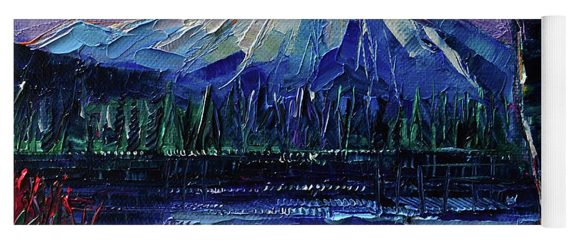 Mount Fuji Yoga Mat featuring the painting Mount Fuji - Textural Impressionist Palette Knife Impasto Oil Painting Mona Edulesco by Mona Edulesco
